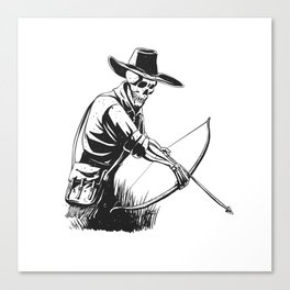 Cowboy skeleton with crossbow - black and white - gothic skull cartoon - ghost silhouette Canvas Print