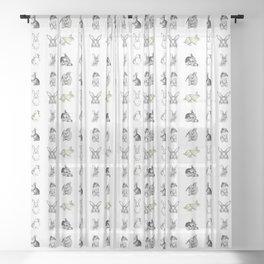 Vintage Bunny Rabbit Pattern Sheer Curtain