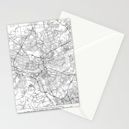 Newcastle Upon Tyne Map White Stationery Cards