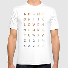 Letter Love - Color White MEDIUM Mens Fitted Tee