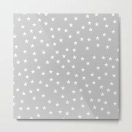 Light grey background with white stars seamless pattern Metal Print