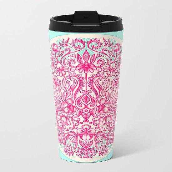 Spring Arrangement - floral doodle in pink & mint Metal Travel Mug