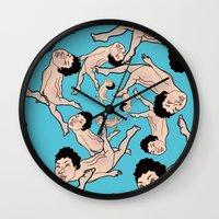 swimming Wall Clocks featuring SWIMMING by RUEI