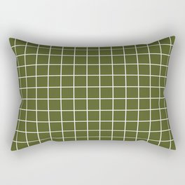 Army green - green color -  White Lines Grid Pattern Rectangular Pillow