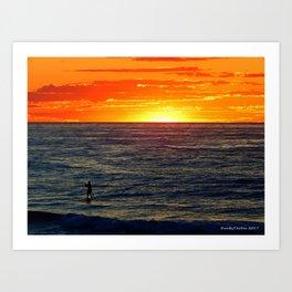 Paddle Boarding at Sunset Art Print