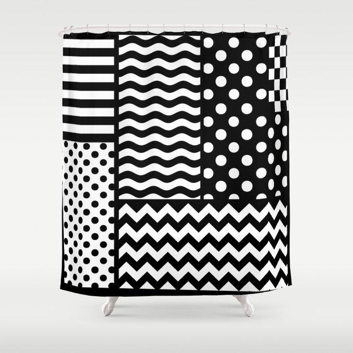 Mixed Patterns (Horizontal Stripes/Polka Dots/Wavy Stripes/Chevron/Checker) Shower Curtain