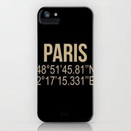 I love Paris Gold Coordinates iPhone Case