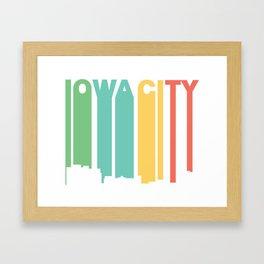 Retro 1970's Style Iowa City Iowa Skyline Framed Art Print