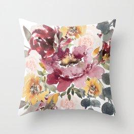 Large floral autumn Throw Pillow