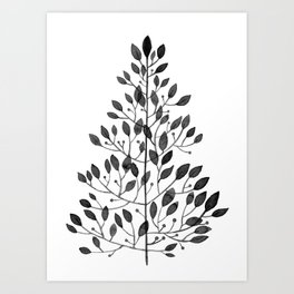 black sprig drawn in ink Art Print