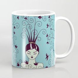 Strange Hair And Flowery Swirls Coffee Mug