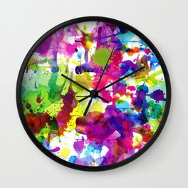 Brightly Colored Paint Splatters Wall Clock