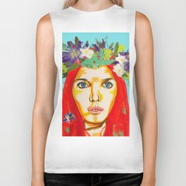 Red haired girl with flowers in her hair Biker Tank