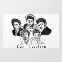 one direction Area & Throw Rugs featuring One Direction by Hollie B