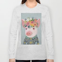Pig with floral crown, farm animal Long Sleeve T-shirt
