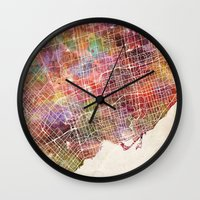 toronto Wall Clocks featuring Toronto by MapMapMaps.Watercolors