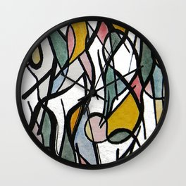 Geometric Abstract Watercolor Ink Wall Clock