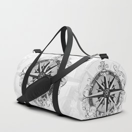 Black and White Scrolling Compass Rose Duffle Bag