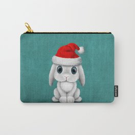 White Floppy Eared Baby Bunny Wearing a Santa Hat Carry-All Pouch