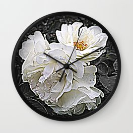 White Roses Flower Bouquet Wall Clock