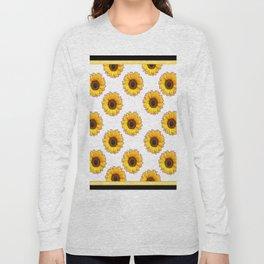 Yellow & White Sunflowers Art Black Pattern Long Sleeve T-shirt