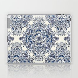 Floral Diamond Doodle in Dark Blue and Cream Laptop & iPad Skin