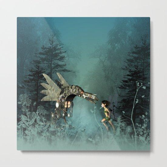 Cute fairy with steam dragon Metal Print