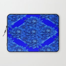 Shades of Blue Dahlia Flowers Pattern Art Laptop Sleeve