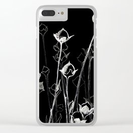 Graphic art. White ink and black cardboard. Flowers Clear iPhone Case
