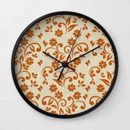 """Orange Flowers & Natural Texture"" Wall Clock"