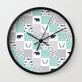 Camper antlers bears pattern minimal nursery basic navy mint white camping cabin chalet decor Wall Clock