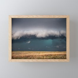 Small - Large Storm Towering Over Windmill in Texas Framed Mini Art Print