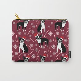 Boston Terrier santa hats candy canes and snowflakes dog pattern gifts by pet friendly Carry-All Pouch