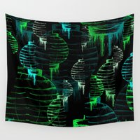green lantern Wall Tapestries featuring Lantern - green by Emma Stein