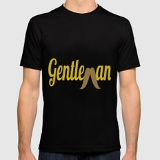 Gentleman (Long Mustache) Mens Fitted Tee MEDIUM Black