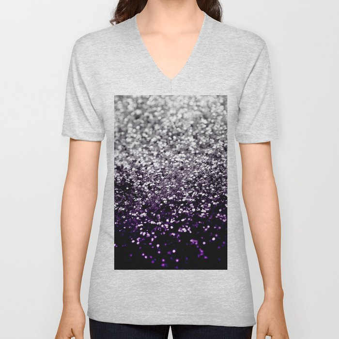 Dark Night Purple Black Silver Glitter #1 #shiny #decor #art #society6 Unisex V-Neck