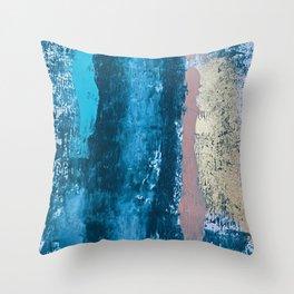A river runs through it: a minimal, abstract mixed media piece in blue and gold by Alyssa Hamilton Throw Pillow