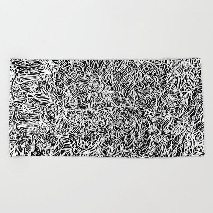 White and Black Beach Towel