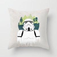 stormtrooper Throw Pillows featuring Stormtrooper by Robert Scheribel