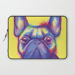 FRENCH BULLDOG COLORFUL WATERCOLOR ILLUSTRATION Laptop Sleeve