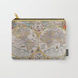 Old Map of the World from 1594 Carry-All Pouch