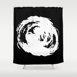 Whorl Black and White Shower Curtain