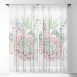 Pink Succulent by Nature Magick Sheer Curtain