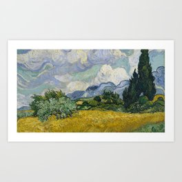 vincent van gogh wheat field with cypresses wheat fields oil canvas Art Print