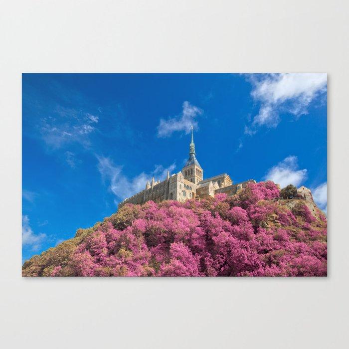 Mont Saint-Michel Abbey - Pink Fantasy Canvas Print