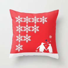 Penguin Couple Dancing on Snow Throw Pillow