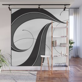 Letter T - Script Lettering Cropped Design Wall Mural