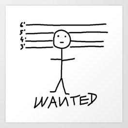 Wanted - Stickman Art Print