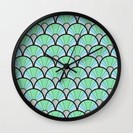 Green Pastel Art Deco Fan Pattern Wall Clock