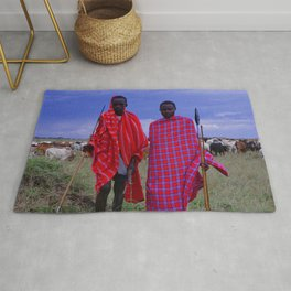 Two Teens in Africa Tending to Village Cattle Rug